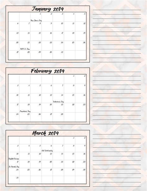 printable quarterly calendars holidays designs