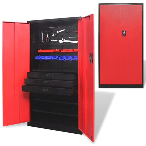 Vidaxlcouk  Metal Tool Storage Cabinet With Removable