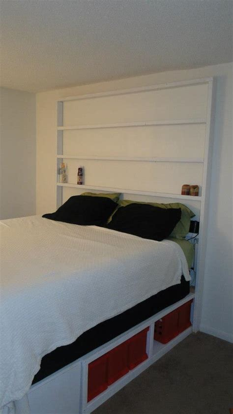 ana white king storage bed  bookcase headboard diy