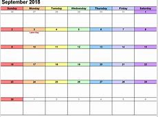 2018 September Calendar Pdf – Business Calendar Templates