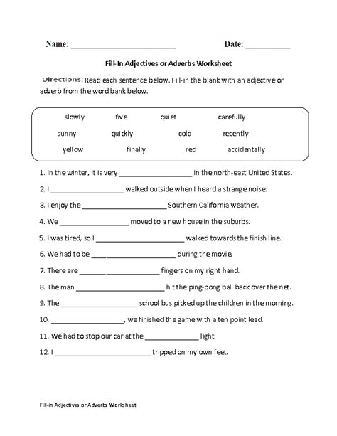 fill in adjectives or adverbs worksheet englishlinx com