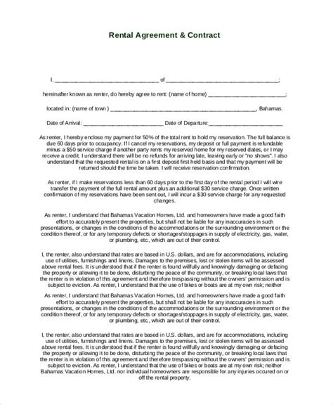 simple rental agreement templates  word