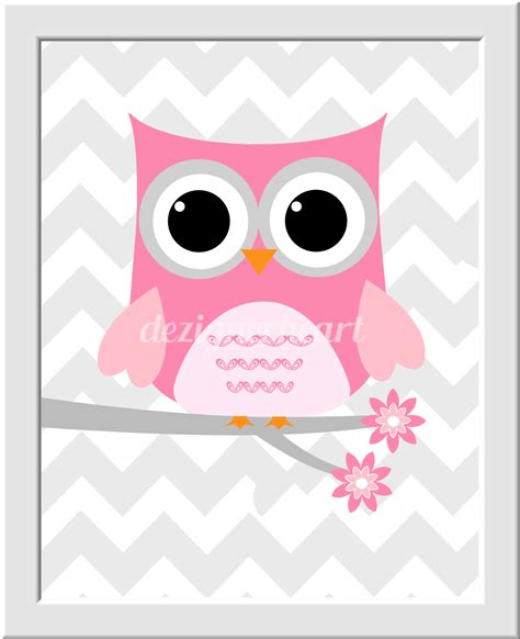 owl baby nursery wall pink gray big one big baby