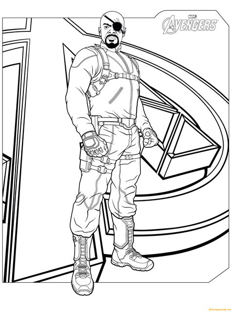 nick fury from avengers coloring page free coloring