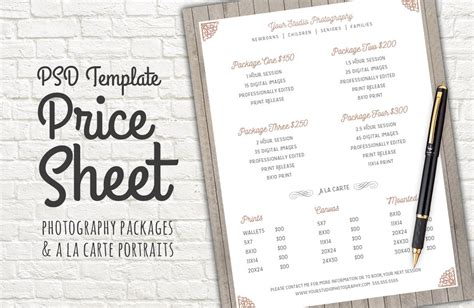 price sheet template psd templates creative market