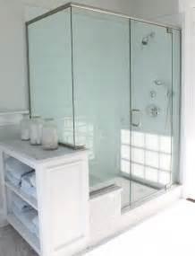 blue glass tile shower cottage bathroom molly frey design