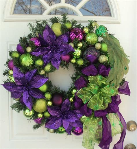 peacock purple lime green christmas wreath home decor