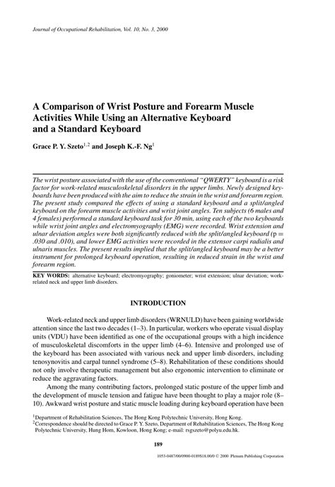 (PDF) A Comparison of Wrist Posture and Forearm Muscle