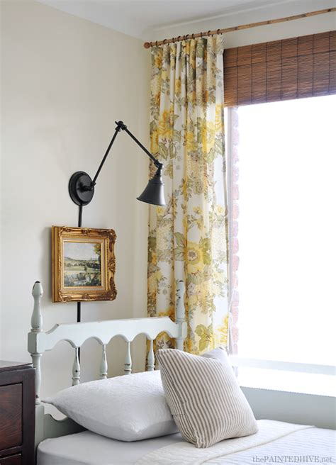 the painted hive quilt cover curtains and a faux bamboo