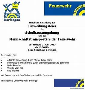Einladung Zur Einweihung : feuerwehr berlingen einladung zur einweihung ~ Lizthompson.info Haus und Dekorationen