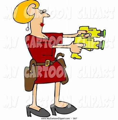 Woman Taser Clipart Clip Crazy Cartoon Drawing