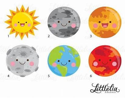 Solar Clipart System Kawaii Space Sistema Cartoon