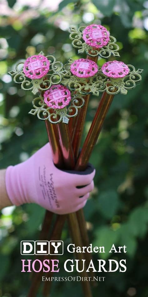 How To Make Garden Art Flower Hose Guards Top Pins From