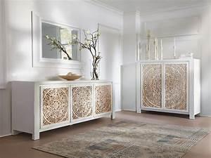 Sideboard Weiß Vintage : sideboard wei 203cm schrank teak mindi holz rustikal m bel neu valsad ebay ~ Frokenaadalensverden.com Haus und Dekorationen