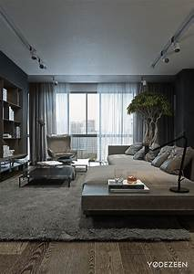 a dark and calming bachelor bad with natural wood and concrete With interior design ideas with wooden floors