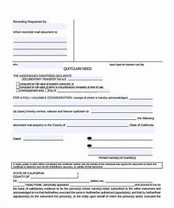 sample quitclaim deed form 11 free documents in pdf word With quit claim deed template free download