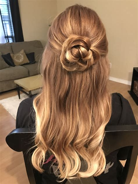 rose flower hair updo half up half down hairstyle for prom