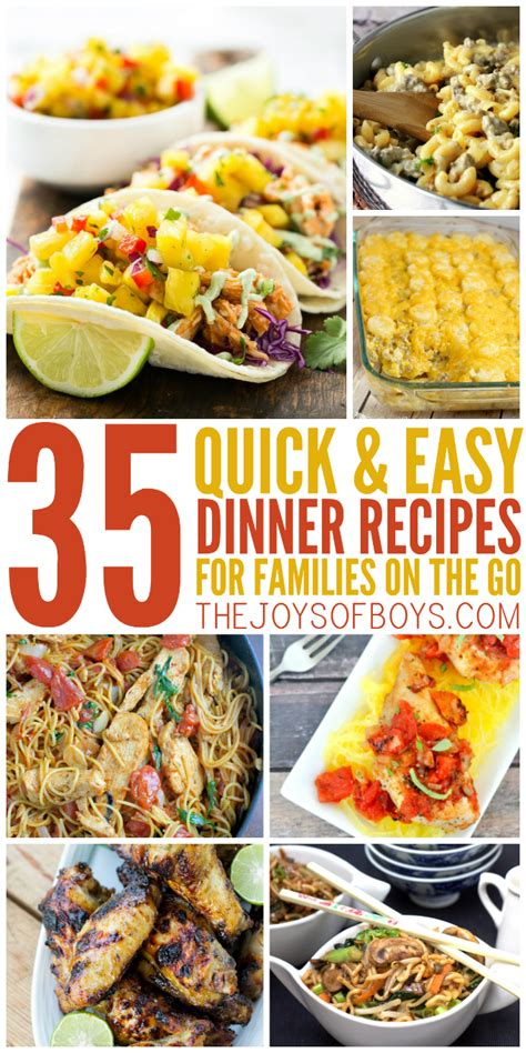 and easy dinner 35 quick and easy dinner recipes for the family on the go