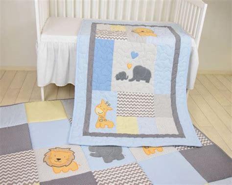 Baby Blue Blanket Elephant Boy Quilt, Crib Safari Bedding
