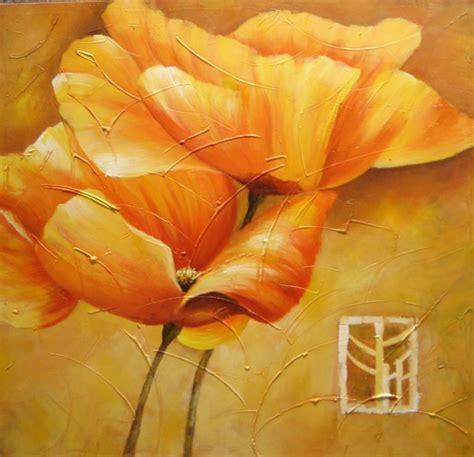 peinture moderne fleur jaune tableau peint carr 233