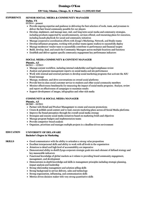 Social Media Manager Resume by Community Social Media Manager Resume Sles Velvet