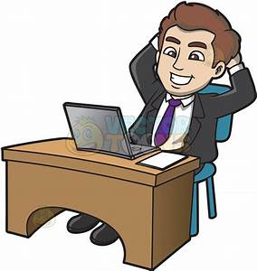 A Man Looking Happy With His Final Work Cartoon Clipart ...