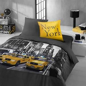 Parure Lit 90x190 : la housse de couette new york un beau style pour la chambre coucher ~ Teatrodelosmanantiales.com Idées de Décoration