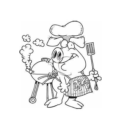 Pig Chef Coloring Clipart Barbecuing