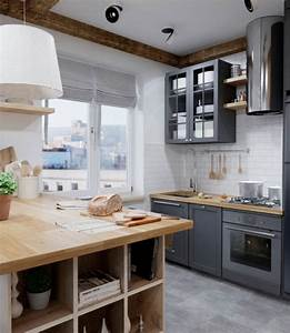 cuisine grise anthracite cuisine grise mur de briques With idee deco cuisine avec cuisine gris anthracite et bois