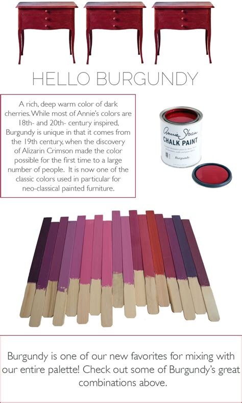 lovely color mixes made with burgundy in chalk paint 174 by sloan chalk paint