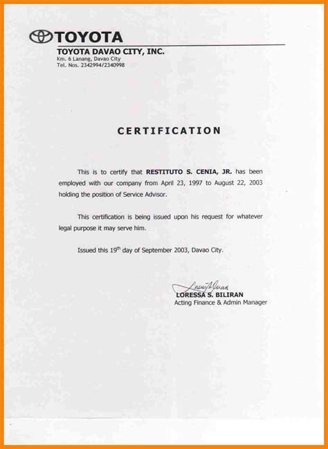 Certificate Of Employment Template by 7 Certificate Of Employment Template Primary Write