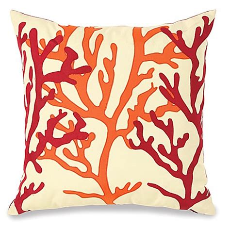 coral outdoor pillow embellished fan coral outdoor throw pillow bed bath beyond