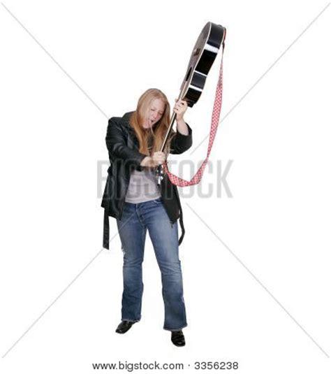 Girl Black Smashing Guitar Stock Photo Images