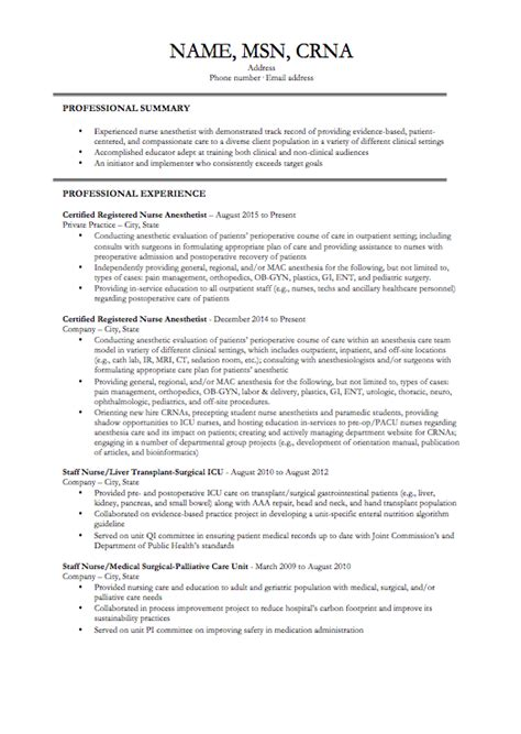 job resume  present life   crna