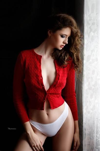 Bra Sweater Panties Cleavage Profile Brunette Hair