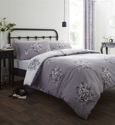 White Comforter Cover by Floral Flower Bouquet Grey White Single Cotton Blend Duvet
