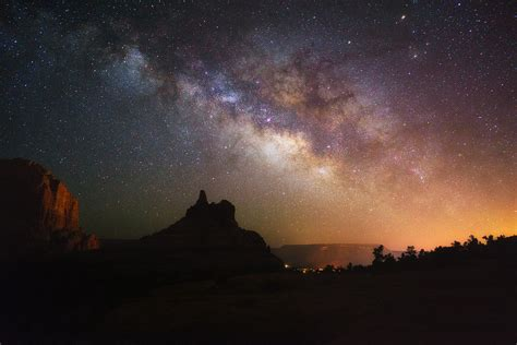 Bell Rock Silhouette The Milky Way Spans Over