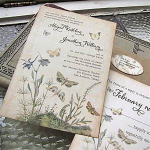 vintage wedding invitation botanical by sunshineandravioli With etsy botanical wedding invitations