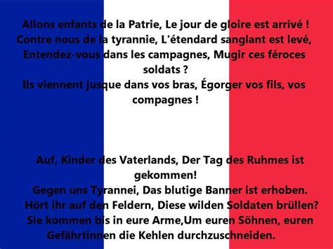 Testo Inno Nazionale Francese Franz 246 Sische Nationalhymne Text La Marseillaise