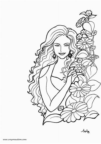 Coloring Pretty Woman Pages Adults Adult Lady