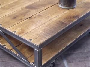 Table Basse Bois Industriel : tables basses meuble de style industriel bois et acier sur mesure micheli design ~ Teatrodelosmanantiales.com Idées de Décoration