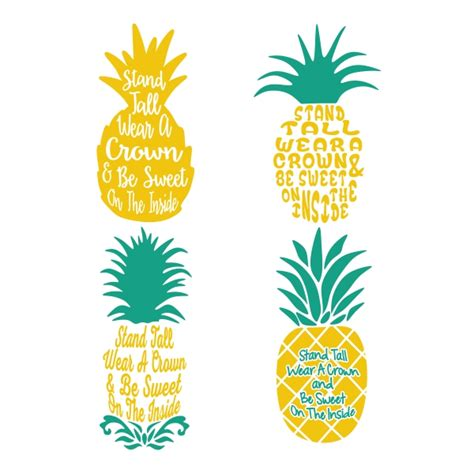 pineapple top silhouette pineapple cuttable design cut file vector clipart
