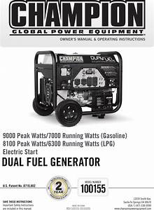 Champion Power Equipment 100155 Owners Manual 100155