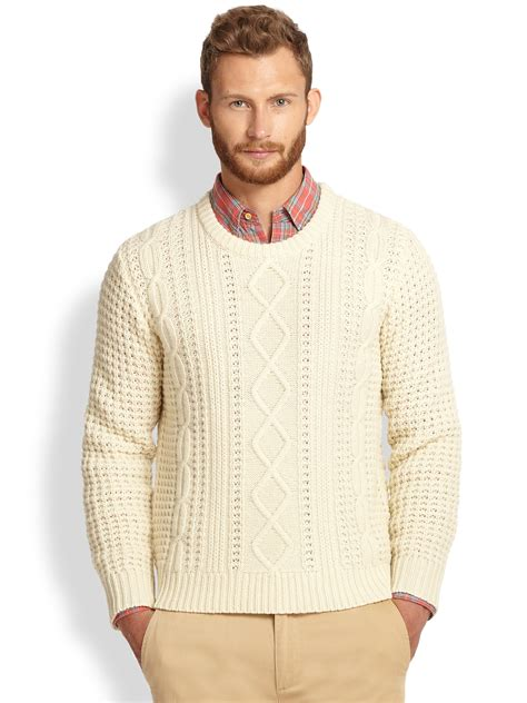knit sweaters lyst gant rugger lambswool cable knit sweater in white