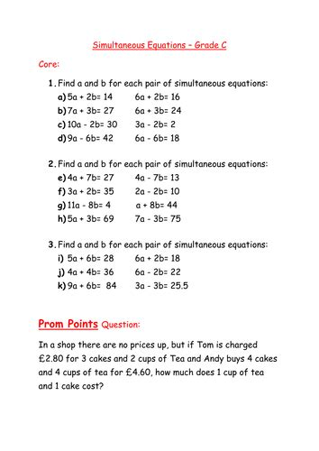 simultaneous equations worksheets year 9 worksheet simultaneous equations by mcamaths teaching
