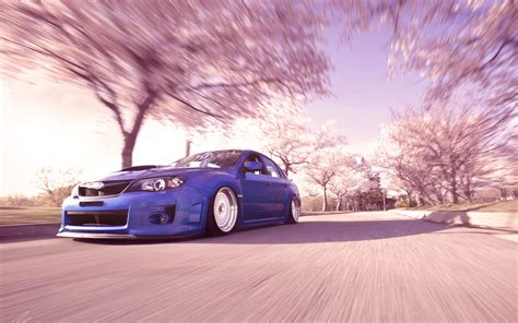 slammed cars iphone wallpaper subaru wrx sti pink trees motion blur slammed tuning