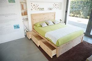 Cirmolo Double Bed In Swiss Stone Pine Wood With 6 Drawers