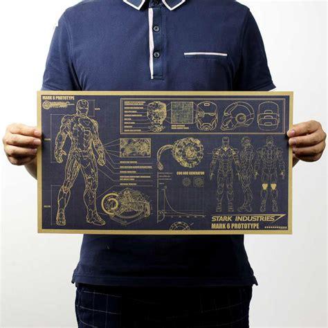 vintage iron man blueprint poster uno company