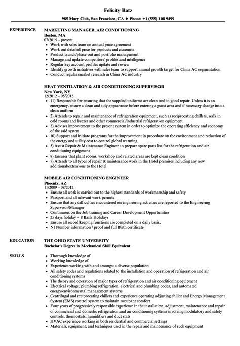 Air Resume by Air Conditioning Resume Sles Velvet