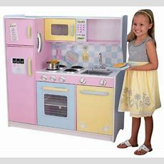 Kids Large Colourful Pastel Deluxe Play Kitchen Set Sturdy